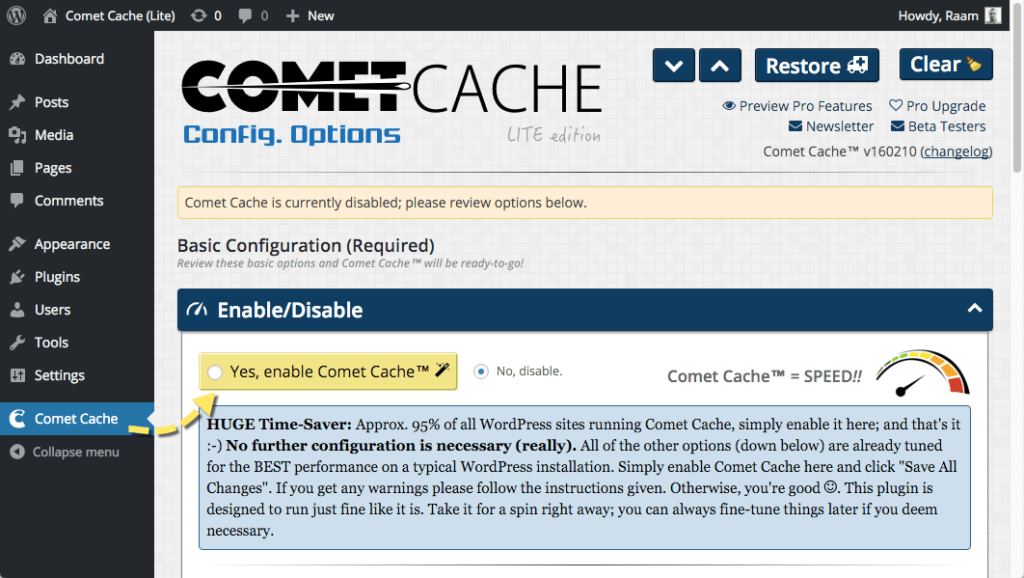 Amazing Caching WordPress Plugins Comet Cache
