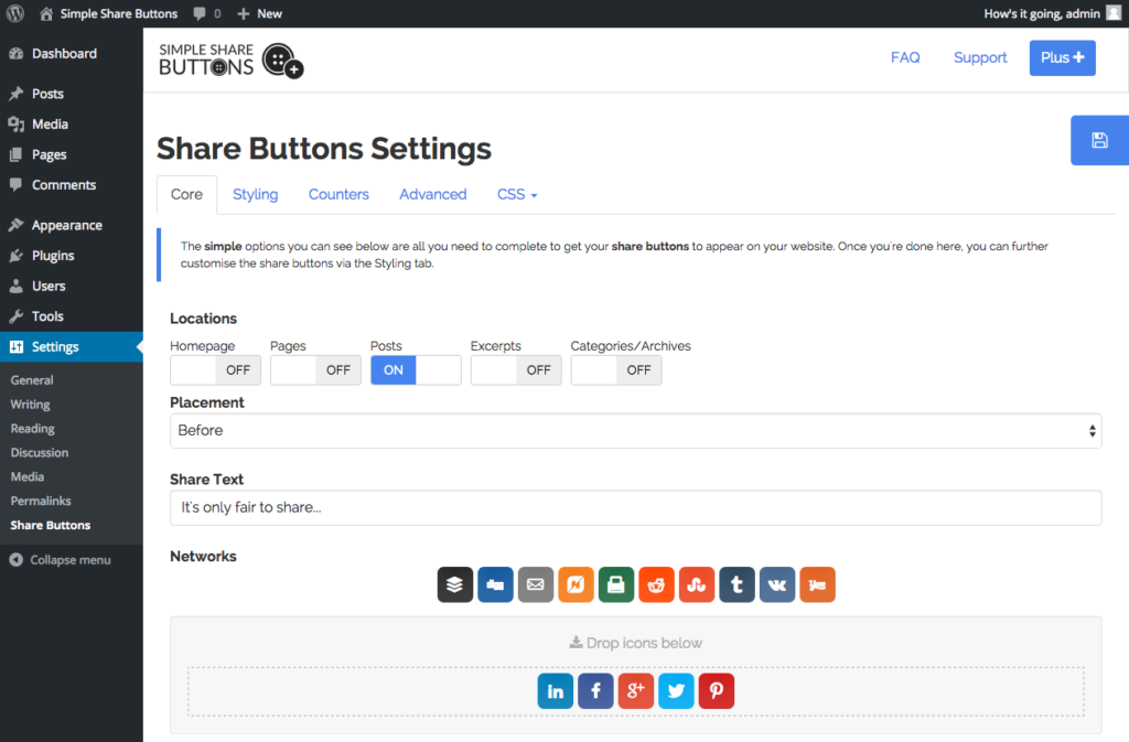 Simple WordPress Social Media Plugins - Simple Share Buttons Adder