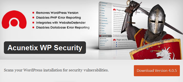 Acunetix WP Security, WordPress security scan plugin