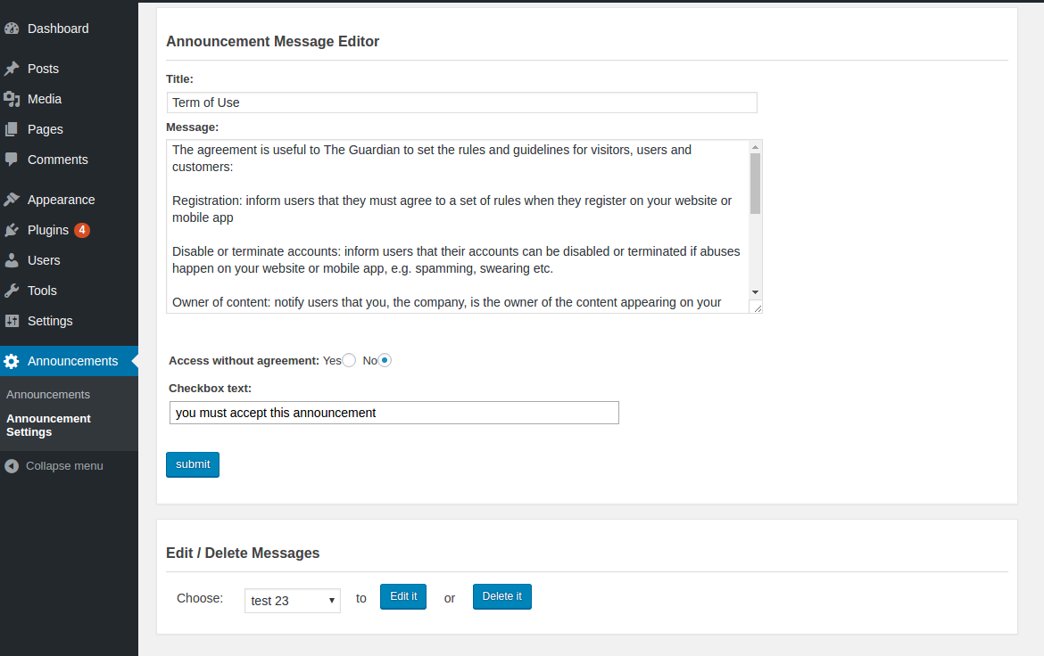 Wordpress Plugin Announcements