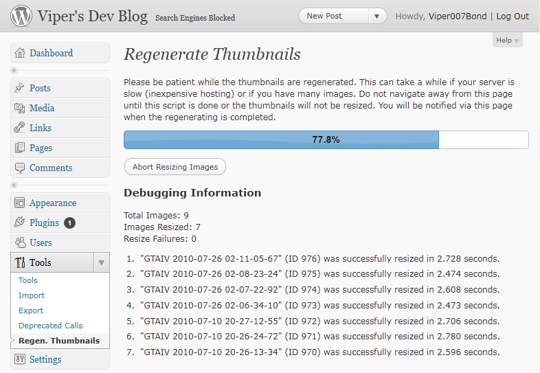 Thumbnails Regenerate and Thumbnail Rebuild AJAX to help rebuild all thumbnails without script timeouts on your server