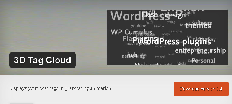 WordPress tag cloud plugin: 3D Tag Cloud